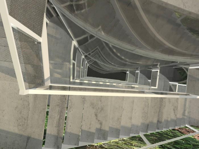 Atriumhof mit Treppenhaus