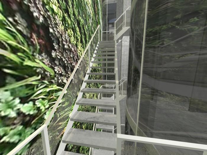Treppenhaus mit vertikalem Garten