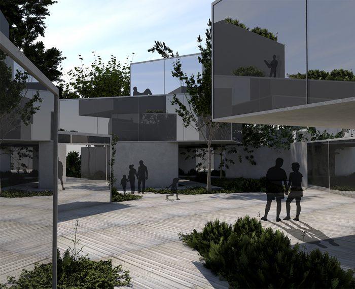 "2. Preis: Doumorh El-Riz und Sandra Bröske  ""Garden Hotel"" - Innenhof bei Tag"